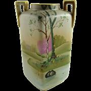 Nippon Porcelain Cabinet Vase Hand Painted Scenic Design