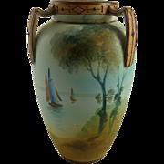 Nippon Porcelain Three Handled Cabinet Vase