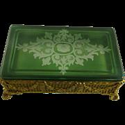 Gilt Brass Ormolu Box Green Cut to Clear Glass Lid Wheel Engraved