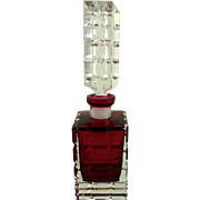 SOLD Vintage Ruby and Clear Glass Perfume Bottle