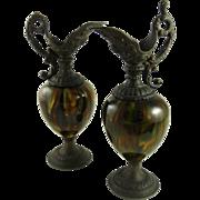 Victorian Mantle Ewers Pair Majolica