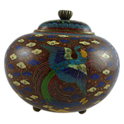 Japanese Meiji Cloisonne Footed Jar with Bird of Paradise