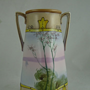 Nippon Two Handled Vase with Lake Scene and Trees