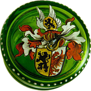 Victorian Enamel Dresser Box with Coat of Arms
