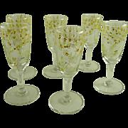 Set of 6 Vintage Enameled Cordials