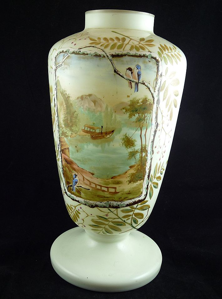 Large Victorian Hand Painted Bristol Glass Vase From