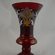 Bohemian Ruby Glass Goblet Form Vase with Enamel