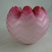 Antique Victorian Mother of Pearl Herringbone Glass Rose Bowl Pink