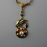 Pretty Vintage Gold Filled Lavalier with Faux Pearl
