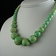 Vintage Art Deco Carved Galalith Bead Necklace Pale Green and Cream