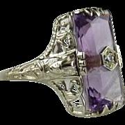 Vintage Amethyst 14K White Gold Egyptian Revival Ring