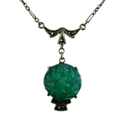 Sterling Marcasite and Faux Jade Molded Glass Lavalier Necklace