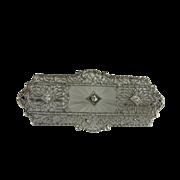 Art Deco 14K White Gold Filigree Rock Crystal and Diamond Pin