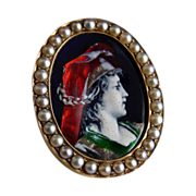 Vintage Limoges Enamel Portrait Pin With Pearls