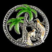 Uncas Sterling Enamel Marcasite Pin Brooch