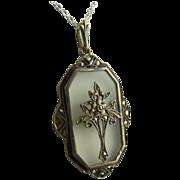 Art Deco Rock Crystal Sterling Silver Marcasite Pendant