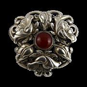 Vintage Art Nouveau Arts and Crafts Sterling Carnelian Pin