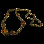 Art Deco Flapper Necklace Amber Glass  Beads Brass Filigree Caps