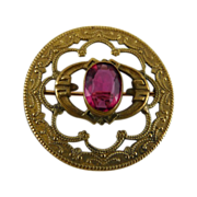 Victorian Pressed Brass Pin with Pink Glass Stone