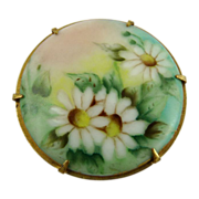 Victorian Hand Painted Porcelain Pin Daisies
