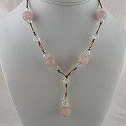 Art Deco Rose Quartz Rock Crystal Enamel Necklace