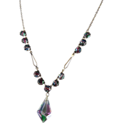 Vintage Iris Glass Necklace with Faceted Drop