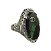 Art Deco 14K White Gold Filigree Onyx Malachite Diamond Ring