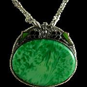 Vintage Art Deco Peking Glass and Enamel Pendant Necklace