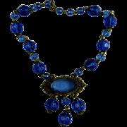 Art Nouveau Blue Glass Bead Necklace