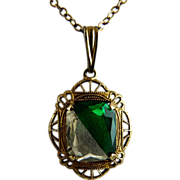 SOLD Art Deco Filigree Glass Pendant Necklace with Divided Stone