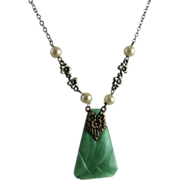 Vintage Art Deco German Necklace Green Glass Pendant