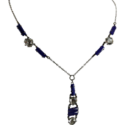 Vintage Art Deco Necklace with Open Back Crystals and Faux Lapis