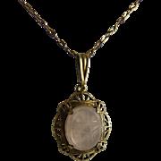 Art Deco Rose Quartz Filigree Pendant Necklace Scarab