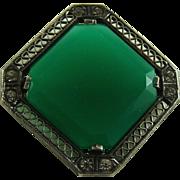 Art Deco Faux Chrysoprase Glass Pin