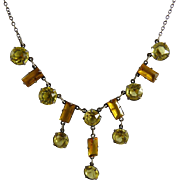 Vintage Art Deco Open Back Crystal Necklace Citrine and Amber Glass and Sterling