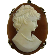 Antique Edwardian Hardstone Cameo in 800 Silver Setting