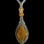 Art Deco Rhodium Filigree Pendant with Amber Glass Stone