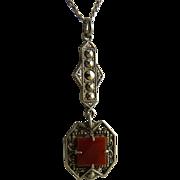 Art Deco Sterling Marcasite Carnelian Lavalier Pendant