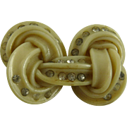 Art Deco Celluloid and Rhinestone Knot Pin