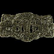 Vintage Art Deco Sterling Silver Marcasite Monogram Pin