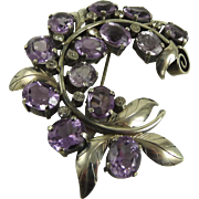SOLD Edwardian Amethyst and 800 Silver Brooch