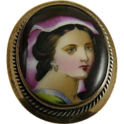 Victorian Hand Painted Portrait Brooch