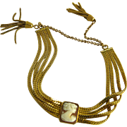Gold Filled Shell Cameo Bracelet with Tassels