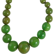 Vintage Graduated Green Bakelite Bead Necklace