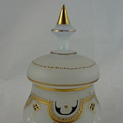 Beautiful Bristol Glass Vanity Jar with Enamel