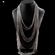 Vintage Signed Trifari Silver Tone Multi Chain Necklace