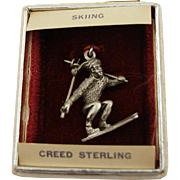 1970's Store Stock Creed Sterling Skier Charm