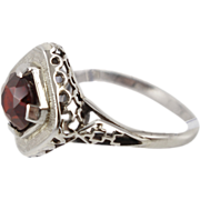 Vintage 14K White Gold and Garnet Ring