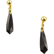 Vintage Les Bernard Black Glass Drop Earrings