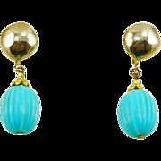 Vintage Les Bernard Faux Turquoise Drop Earrings